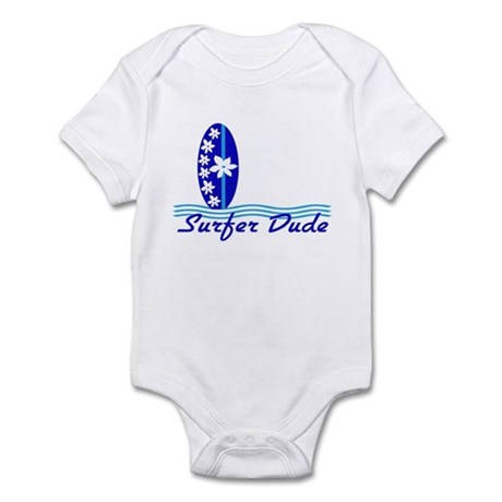 Surfer Dude Blue Surf Board baby Bodysuit