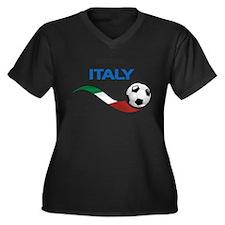 Soccer 2014 ITALY Women's Plus Size V-Neck Dark T-