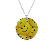Smiley Faces Everywhere Necklace Circle Charm