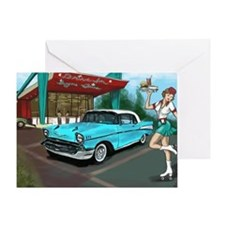 57 Chevy with Car Hop Girl Greeting Card