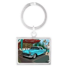 57 Chevy with Car Hop Girl Landscape Keychain