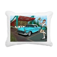 57 Chevy with Car Hop Gi Rectangular Canvas Pillow