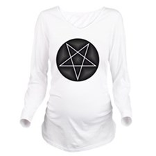 Silver Pentacle Long Sleeve Maternity T-Shirt