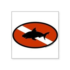 Scuba Diver Flag with Shark Oval Sticker