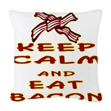 blk_keep_calm_eat_bacon_02 Woven Throw Pillow