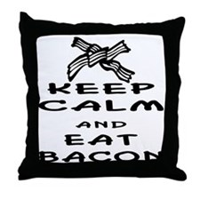 wht_keep_calm_eat_bacon_03 Throw Pillow
