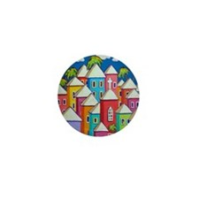 Tropical Colorful Houses Shower Curtai Mini Button