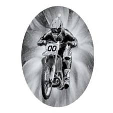 dirt bike blasting thru in BW Oval Ornament