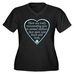 Open Your Heart Women's Plus Size V-Neck Dark T-Sh