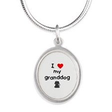 I love my granddog (4) Silver Oval Necklace