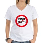 No Pink Hats Women's V-Neck T-Shirt