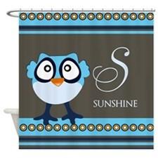 Custom Name Blue Owl Shower Curtain