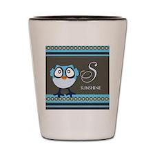 Custom Name Blue Owl Shot Glass