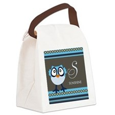 Custom Name Blue Owl Canvas Lunch Bag