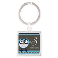 Custom Name Blue Owl Square Keychain