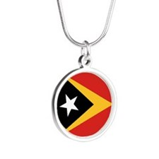 Timor-Leste Flag Silver Round Necklace