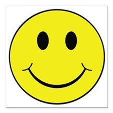 "Smiley Face Square Car Magnet 3"" x 3"""