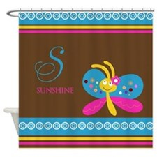 Cute Butterfly Monogram Shower Curtain
