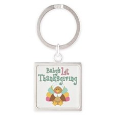 1st Thanksgiving Square Keychain