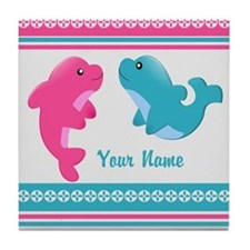 Cute Dolphin - Personalized Tile Coaster