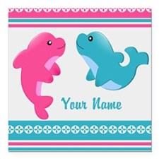 """Cute Dolphin - Personalized Square Car Magnet 3"""" x"""