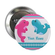 """Cute Dolphin - Personalized 2.25"""" Button (100 pack"""