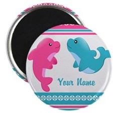 """Cute Dolphin - Personalized 2.25"""" Magnet (100 pack"""