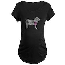 Pug Typography Maternity T-Shirt