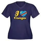 I love Congo Women's Plus Size V-Neck Dark T-Shirt