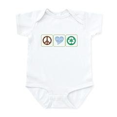 Peace, Love, Recycling Infant Bodysuit