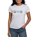 Peace, Love, Recycling Women's T-Shirt