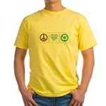 Peace, Love, Recycling Yellow T-Shirt