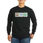 Peace, Love, Recycling Long Sleeve Dark T-Shirt