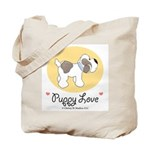 Puppy Love Baby Blue Collar Tote Bag