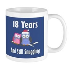 Cute 18th Anniversary Snuggly Owls Mugs