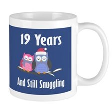 Cute 19th Anniversary Snuggly Owls Mugs