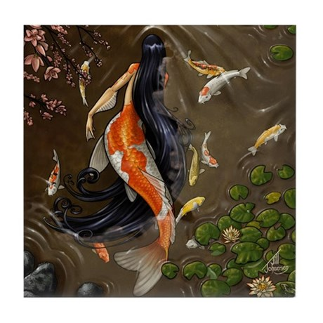 Koi Mermaid Tile Coaster