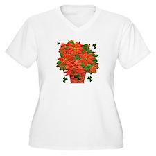Shamrock Poinsettia Plus Size V-Neck T-Shirt