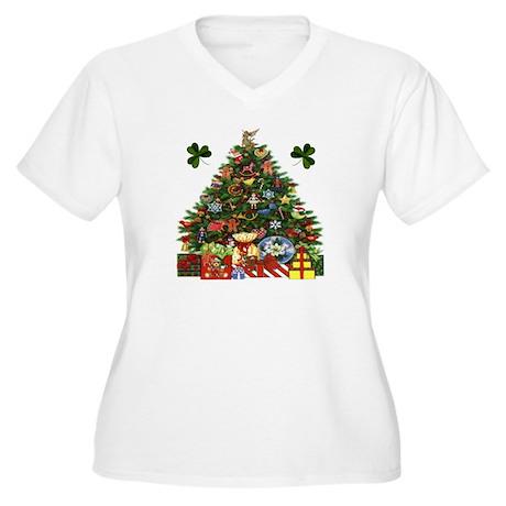 gt; Celtic Womens gt; Shamrock Christmas Tree Plus Size VNeck TShirt