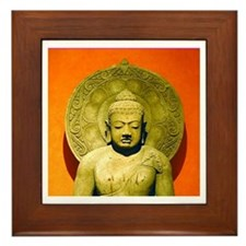 Indonesian Stone Buddha Framed Tile