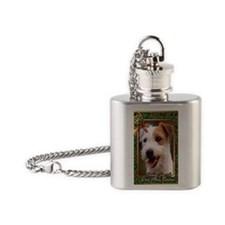Jack Russell Terrier Dog Christmas Flask Necklace