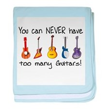 Too many guitars baby blanket