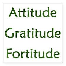 "Attitude, Gratitude, For Square Car Magnet 3"" x 3"""