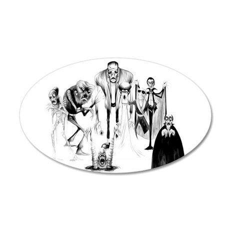 Classic movie monsters 35x21 Oval Wall Decal