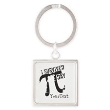Text Option Funny Pi Day Square Keychain
