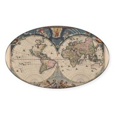 Vintage World Map 17th Century Decal
