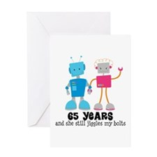 65 Year Anniversary Robot Couple Greeting Card