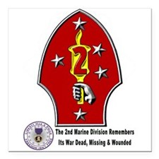 2Nd Marine Div. Remembers Square Car Magnet 3&Quot