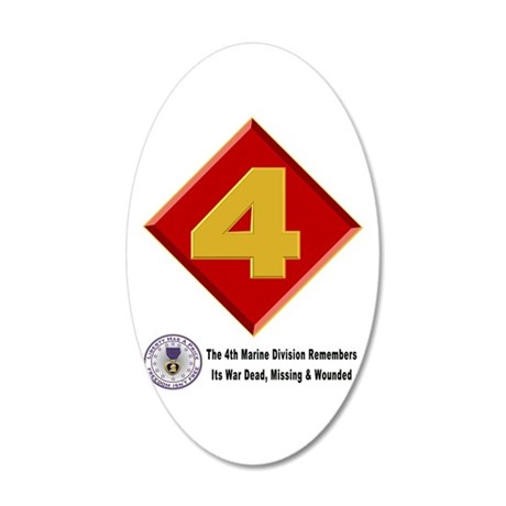 4Th Marine Div. Remembers 20X12 Oval Wall Decal