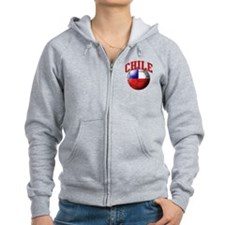 Flag of Chile Soccer Ball Zip Hoodie